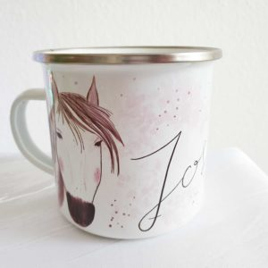 Emailletasse Pferd Pony mit Wunschname Lettering